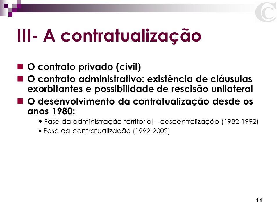 III- A contratualização