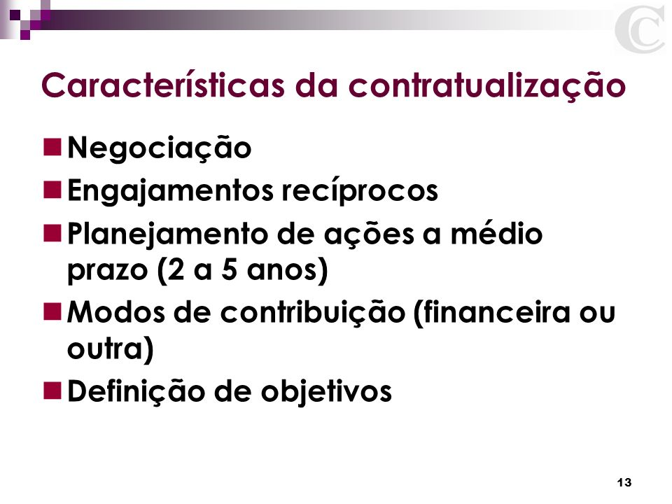 Características da contratualização