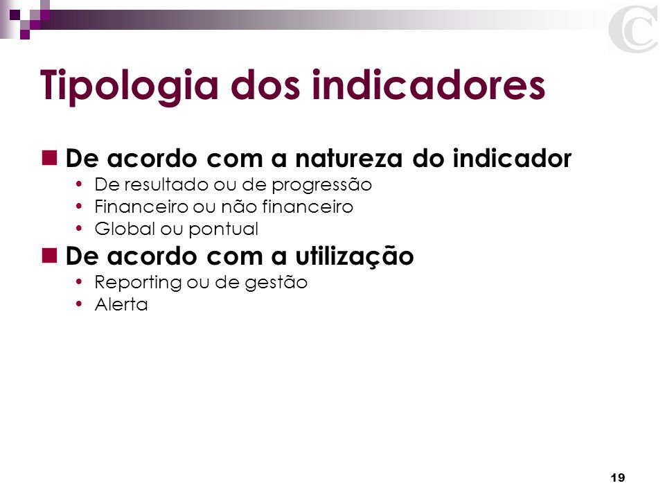 Tipologia dos indicadores