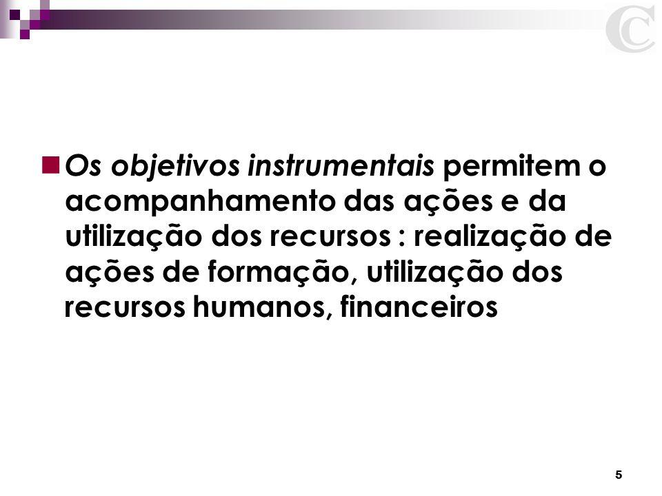 Os objetivos instrumentais permitem o acompanhamento das ações e da utilização dos recursos : realização de ações de formação, utilização dos recursos humanos, financeiros