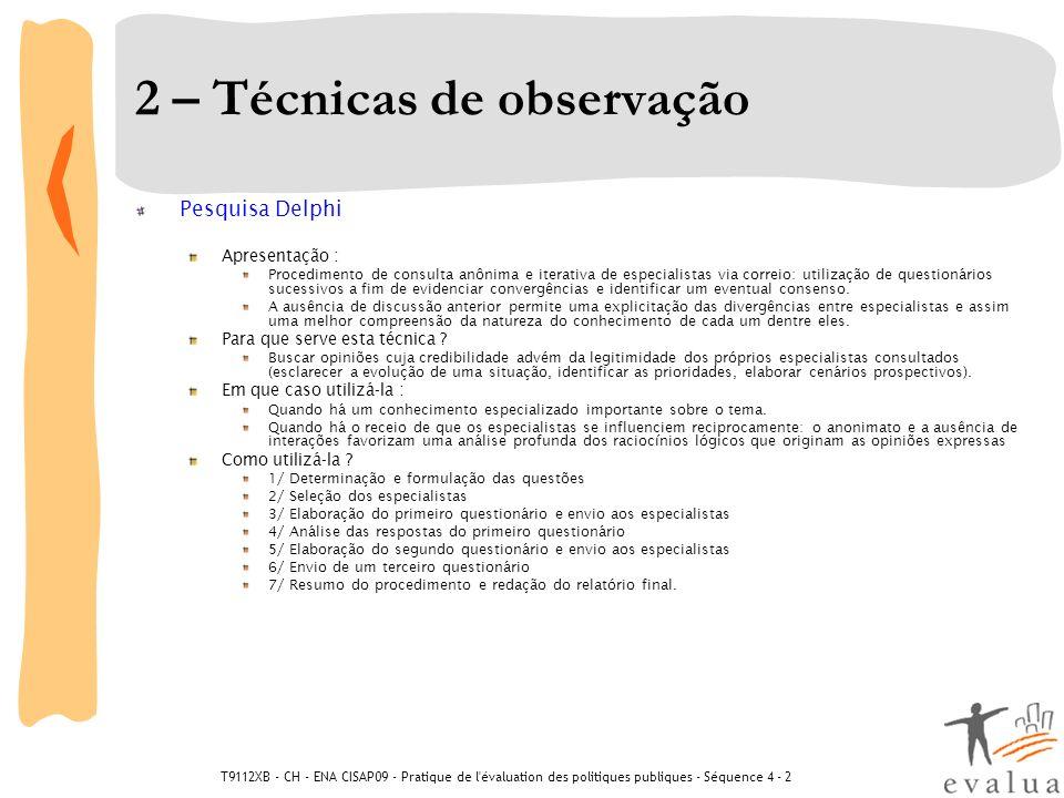 2 – Técnicas de observação