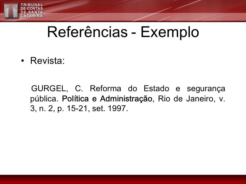 Referências - Exemplo Revista: