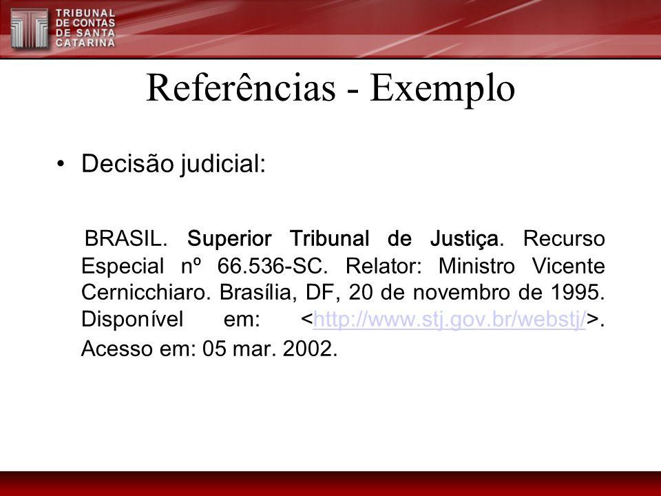 Referências - Exemplo Decisão judicial: