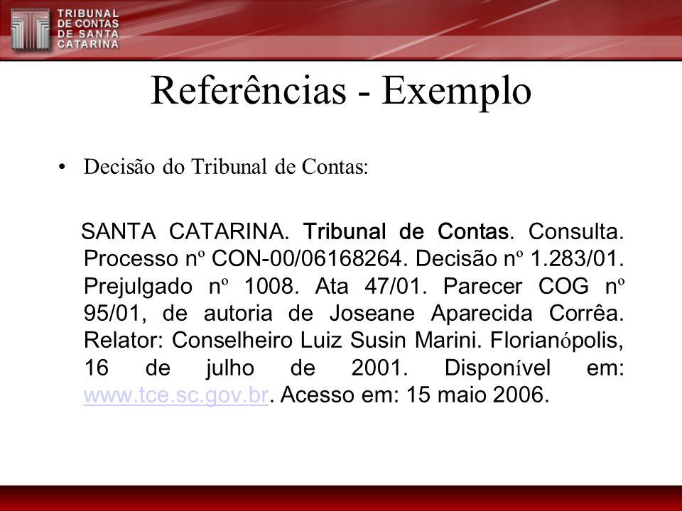 Referências - Exemplo Decisão do Tribunal de Contas: