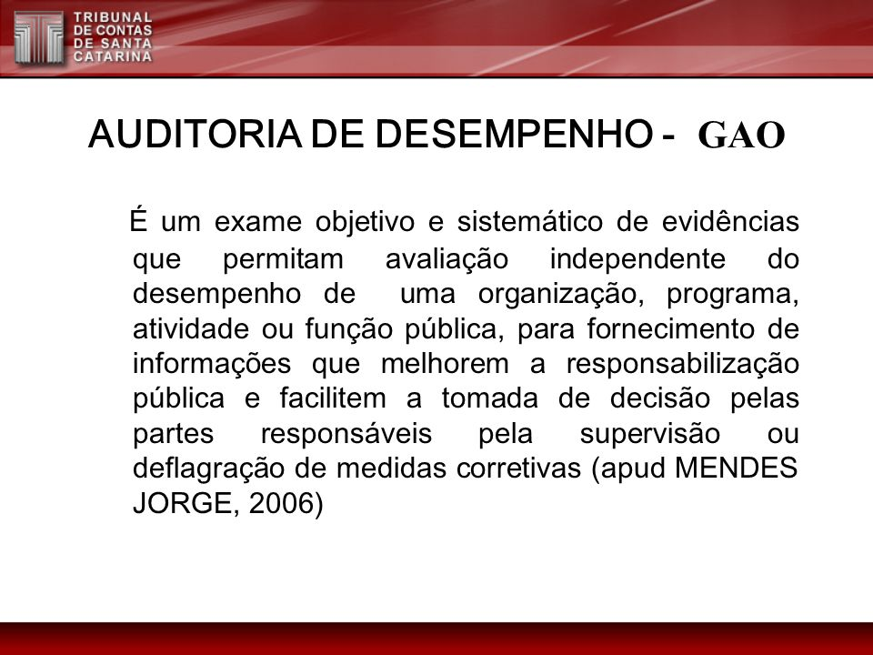 AUDITORIA DE DESEMPENHO - GAO