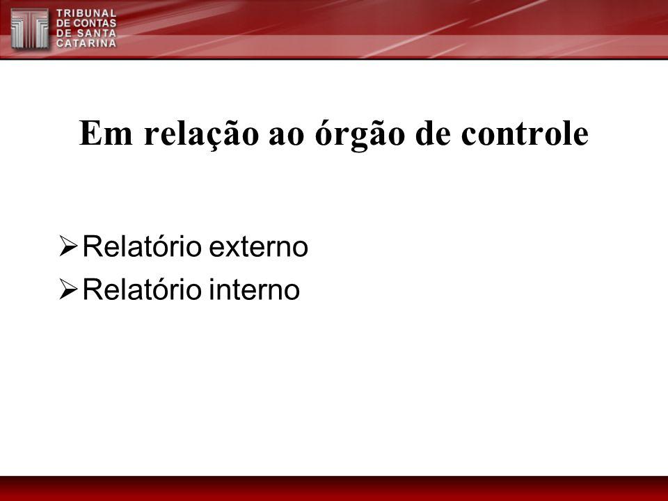 Em relação ao órgão de controle