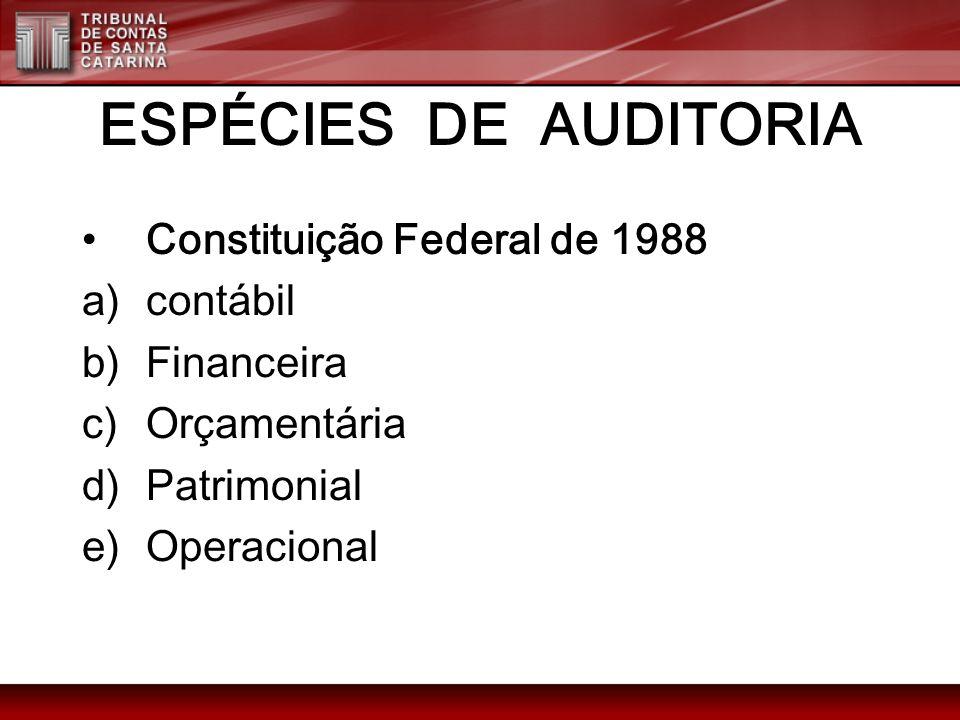 ESPÉCIES DE AUDITORIA Constituição Federal de 1988 contábil Financeira