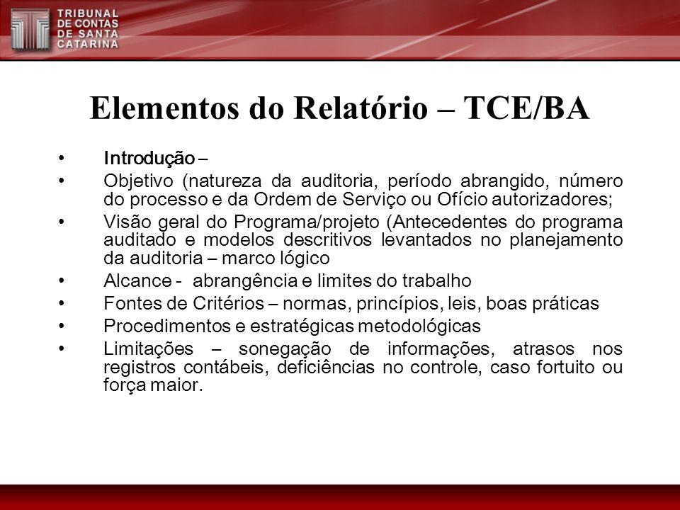 Elementos do Relatório – TCE/BA