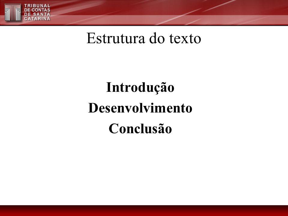 Estrutura do texto Introdução Desenvolvimento Conclusão