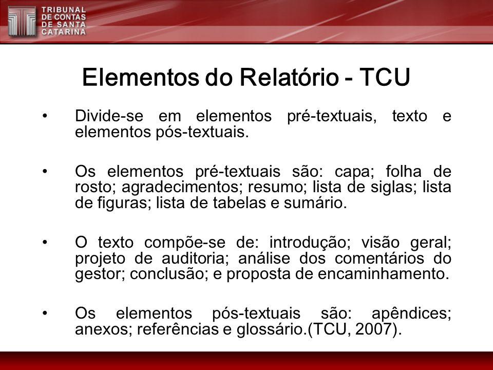 Elementos do Relatório - TCU
