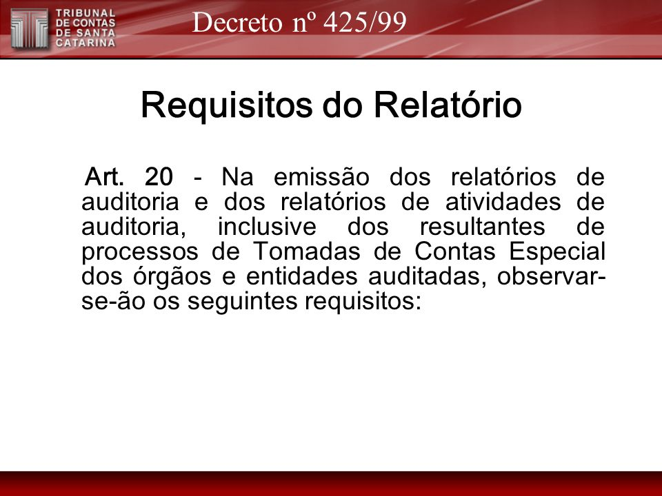 Requisitos do Relatório