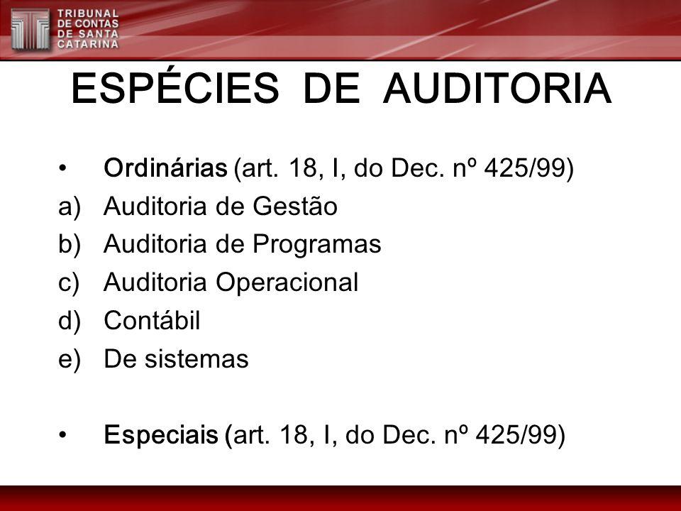 ESPÉCIES DE AUDITORIA Ordinárias (art. 18, I, do Dec. nº 425/99)