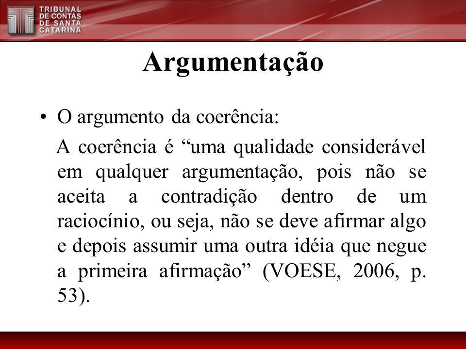 Argumentação O argumento da coerência: