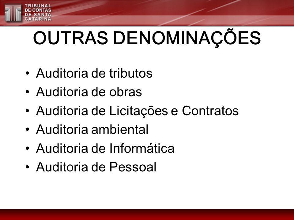 OUTRAS DENOMINAÇÕES Auditoria de tributos Auditoria de obras