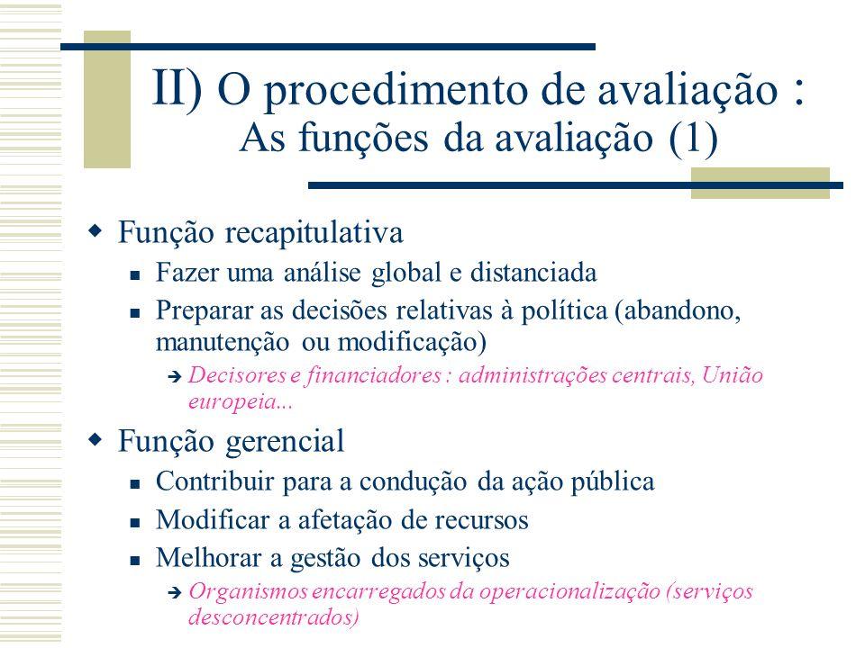 II) O procedimento de avaliação : As funções da avaliação (1)