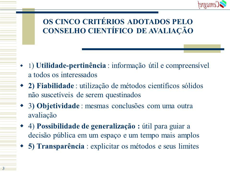 OS CINCO CRITÉRIOS ADOTADOS PELO CONSELHO CIENTÍFICO DE AVALIAÇÃO