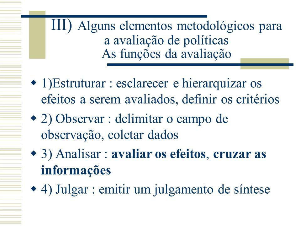 III) Alguns elementos metodológicos para a avaliação de políticas As funções da avaliação
