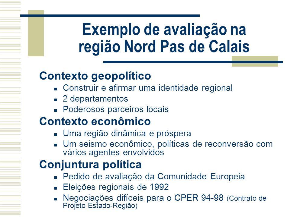 Exemplo de avaliação na região Nord Pas de Calais