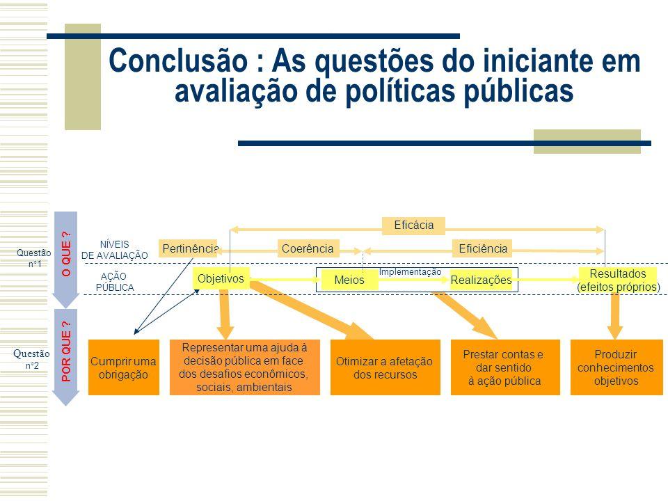 années 2000 Conclusão : As questões do iniciante em avaliação de políticas públicas. O QUE Eficácia.