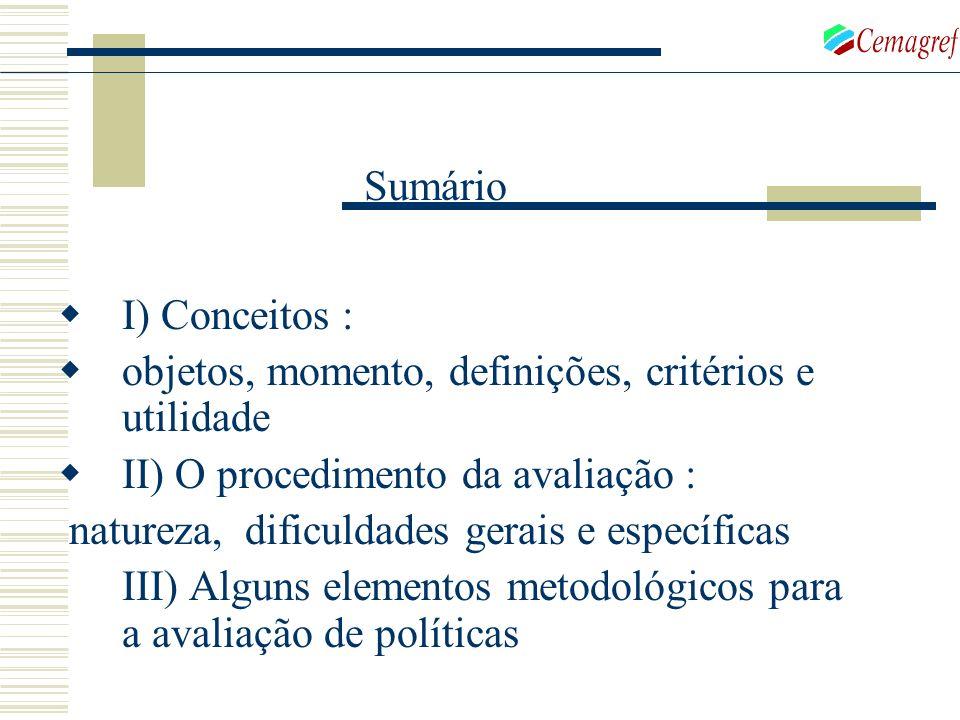 Sumário I) Conceitos : objetos, momento, definições, critérios e utilidade. II) O procedimento da avaliação :