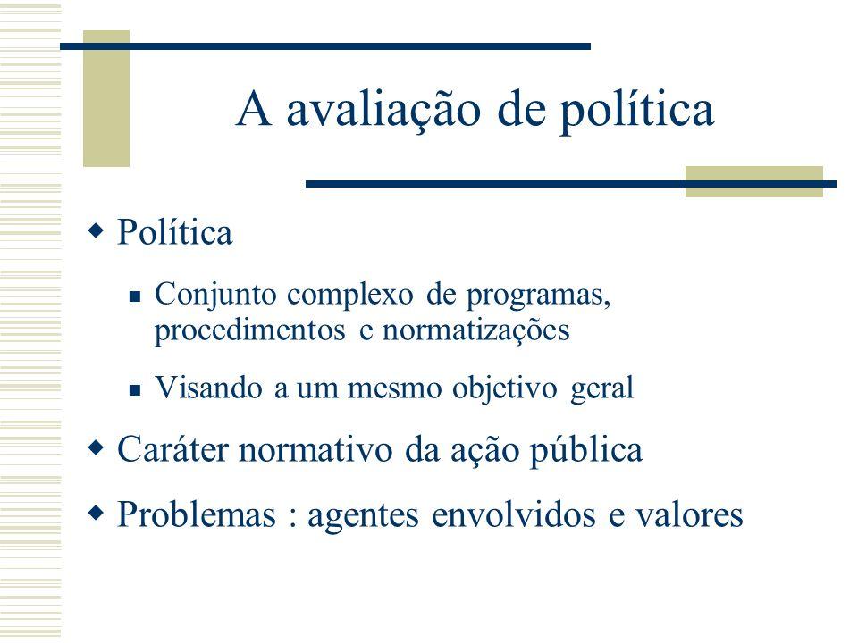 A avaliação de política