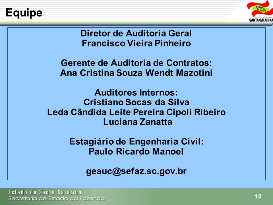Equipe Diretor de Auditoria Geral Francisco Vieira Pinheiro