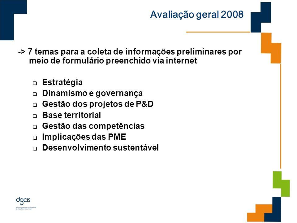 Avaliação geral 2008 -> 7 temas para a coleta de informações preliminares por meio de formulário preenchido via internet.