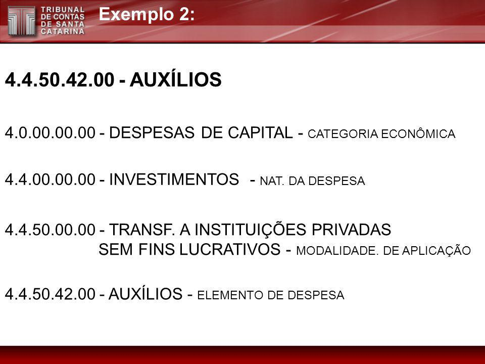 Exemplo 2:4.4.50.42.00 - AUXÍLIOS. 4.0.00.00.00 - DESPESAS DE CAPITAL - CATEGORIA ECONÔMICA. 4.4.00.00.00 - INVESTIMENTOS - NAT. DA DESPESA.