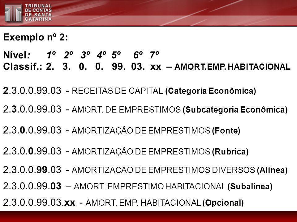 Exemplo nº 2:Nível: 1º 2º 3º 4º 5º 6º 7º. Classif.: 2. 3. 0. 0. 99. 03. xx – AMORT.EMP. HABITACIONAL.