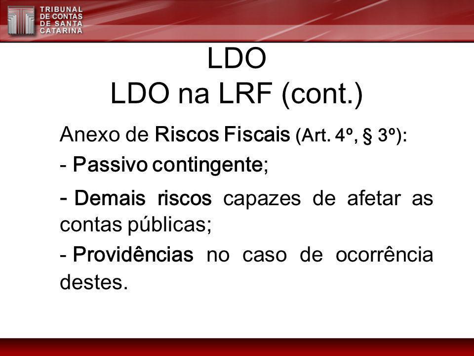 LDO LDO na LRF (cont.)Anexo de Riscos Fiscais (Art. 4º, § 3º): Passivo contingente; Demais riscos capazes de afetar as contas públicas;