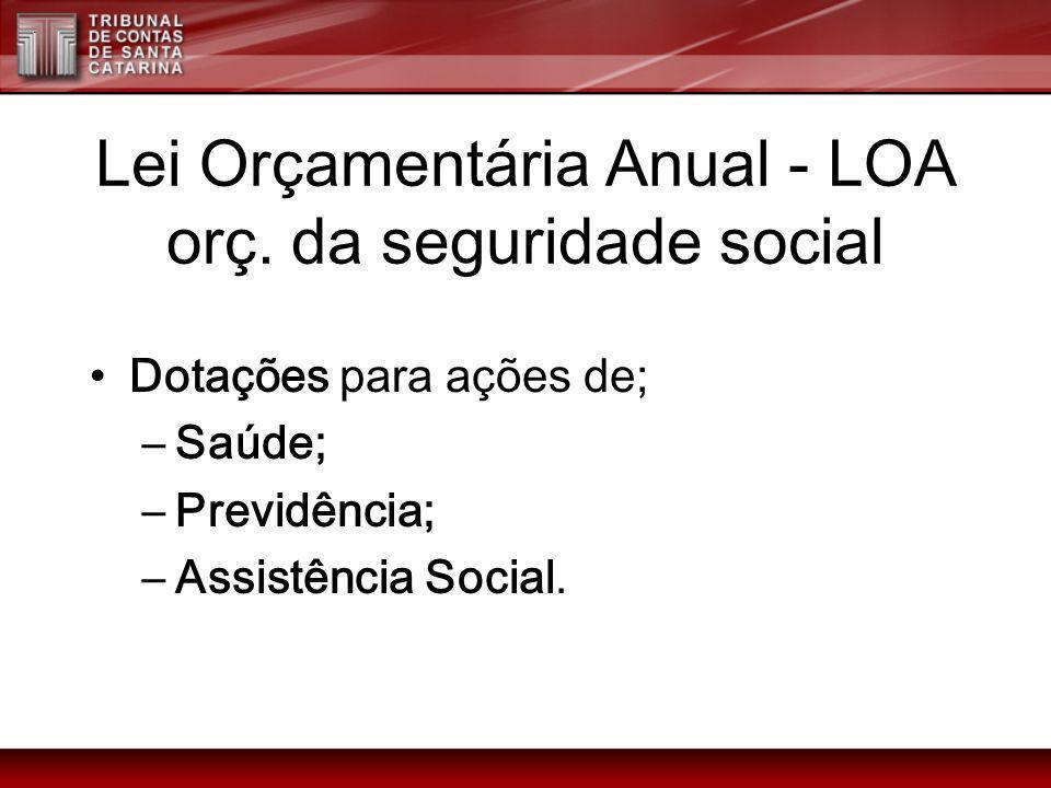 Lei Orçamentária Anual - LOA orç. da seguridade social