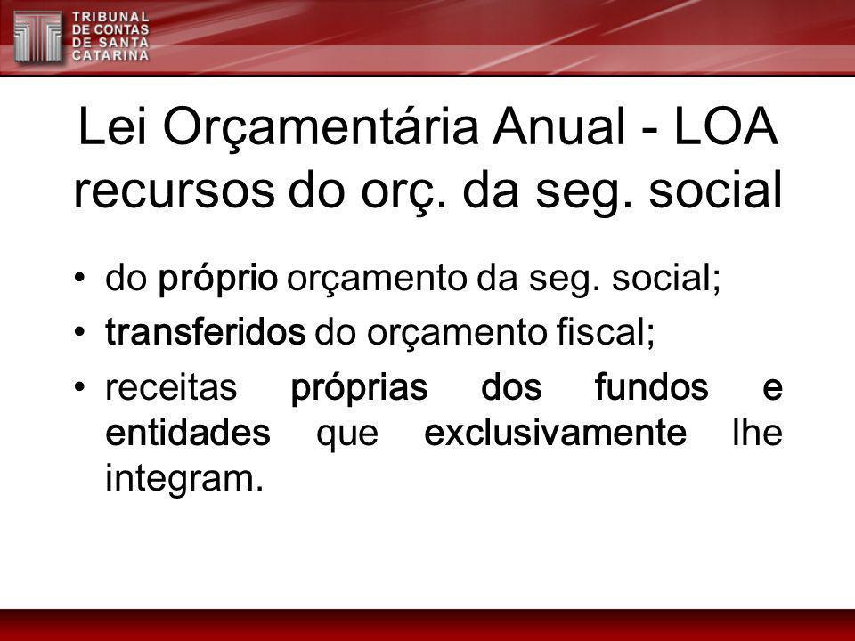 Lei Orçamentária Anual - LOA recursos do orç. da seg. social