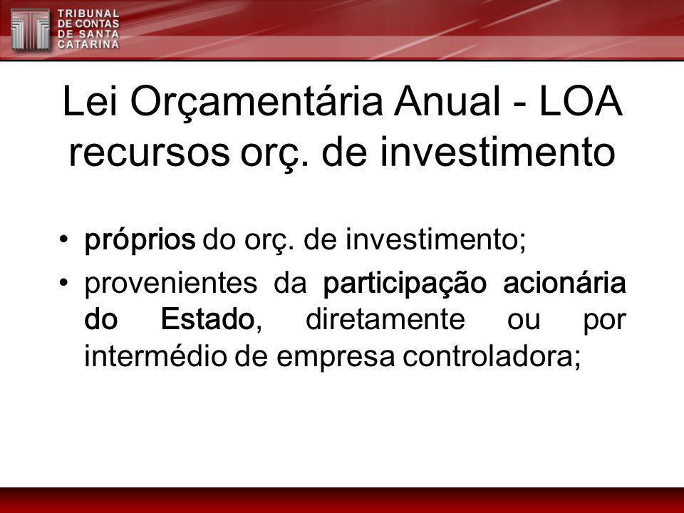 Lei Orçamentária Anual - LOA recursos orç. de investimento