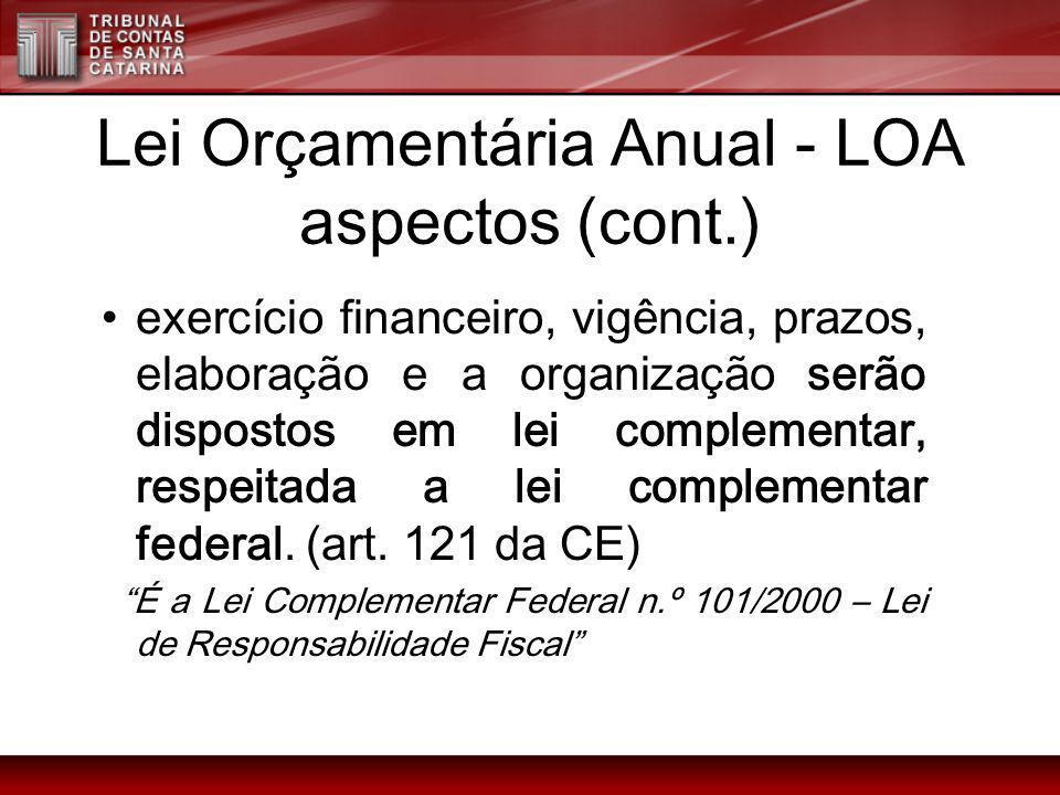 Lei Orçamentária Anual - LOA aspectos (cont.)