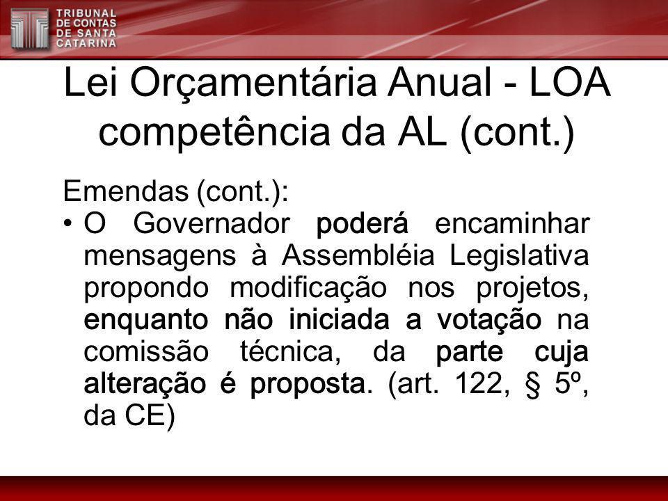 Lei Orçamentária Anual - LOA competência da AL (cont.)