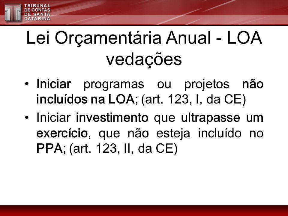 Lei Orçamentária Anual - LOA vedações