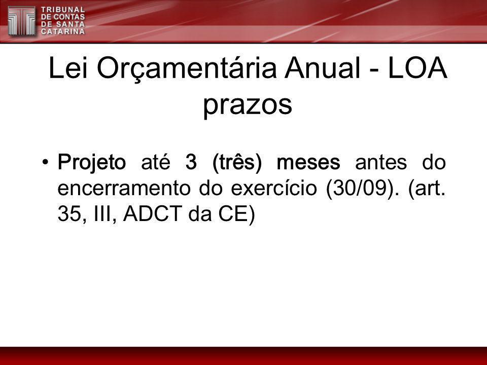 Lei Orçamentária Anual - LOA prazos