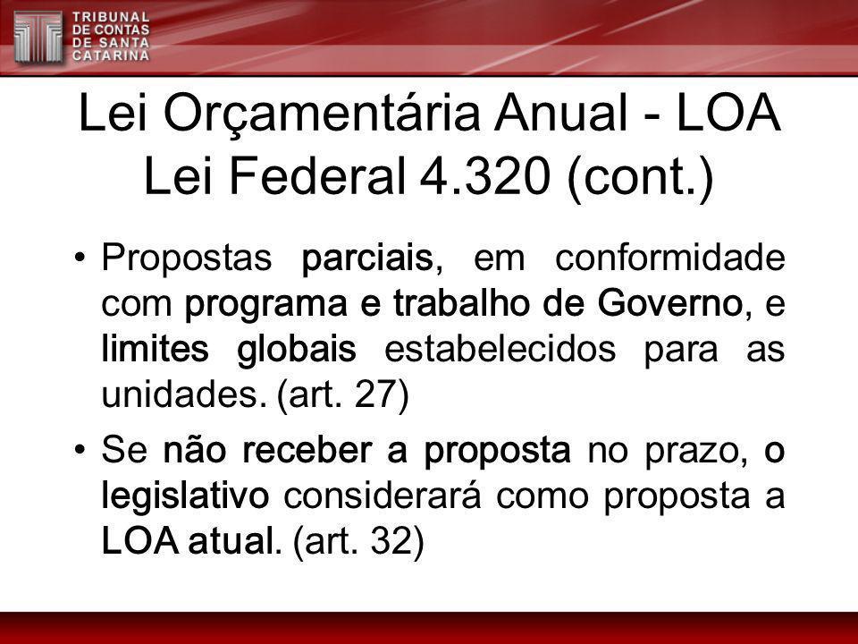 Lei Orçamentária Anual - LOA Lei Federal 4.320 (cont.)