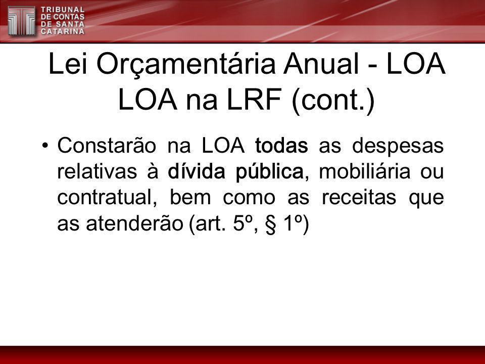 Lei Orçamentária Anual - LOA LOA na LRF (cont.)