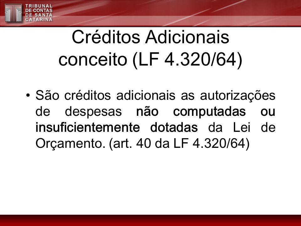 Créditos Adicionais conceito (LF 4.320/64)