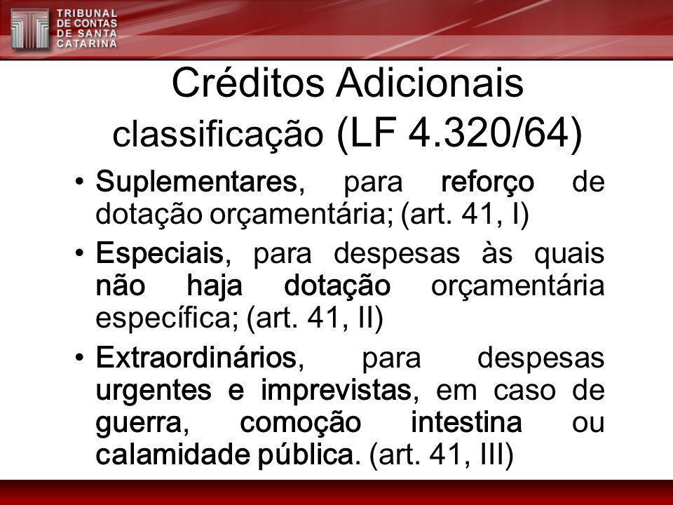 Créditos Adicionais classificação (LF 4.320/64)
