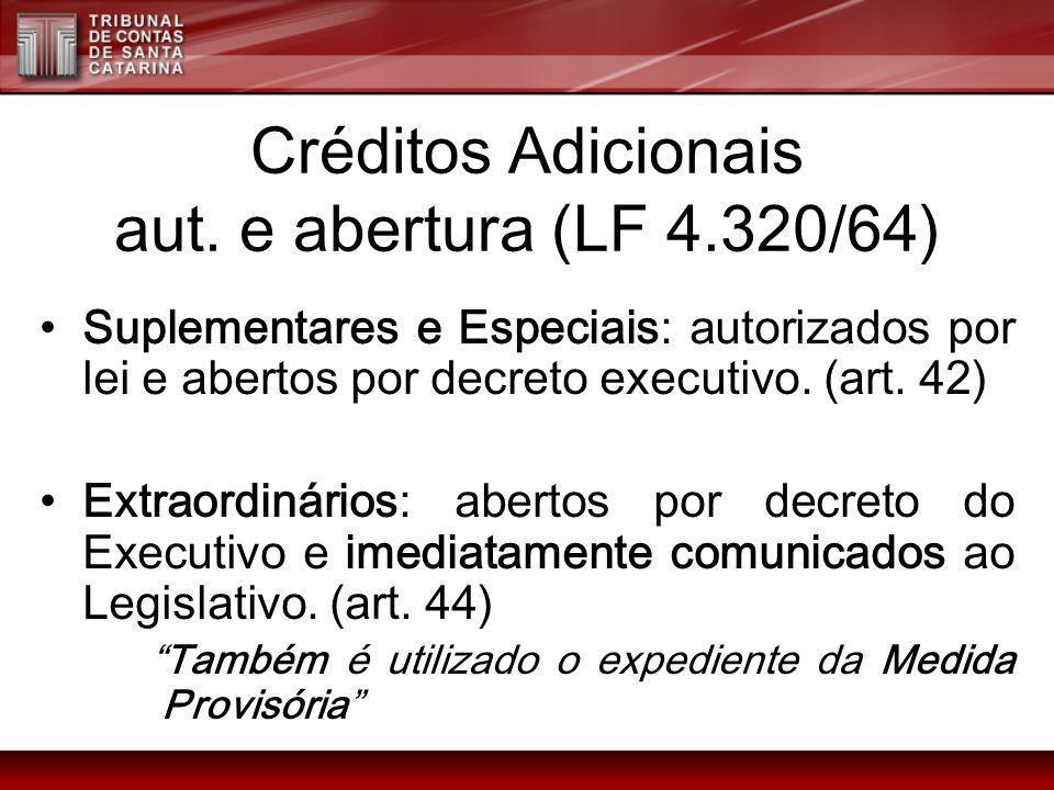 Créditos Adicionais aut. e abertura (LF 4.320/64)