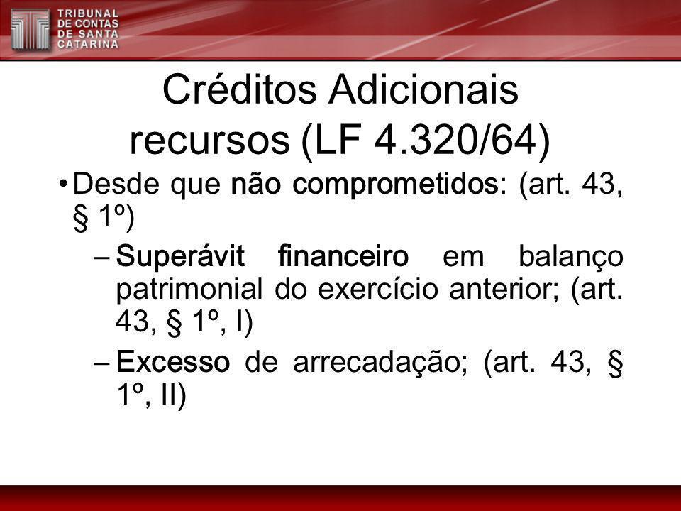 Créditos Adicionais recursos (LF 4.320/64)