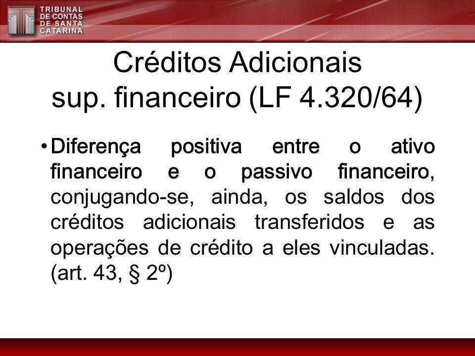 Créditos Adicionais sup. financeiro (LF 4.320/64)