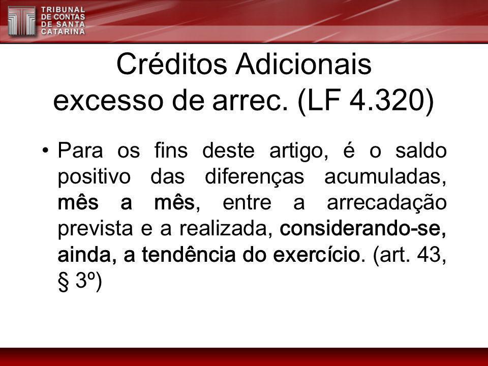 Créditos Adicionais excesso de arrec. (LF 4.320)