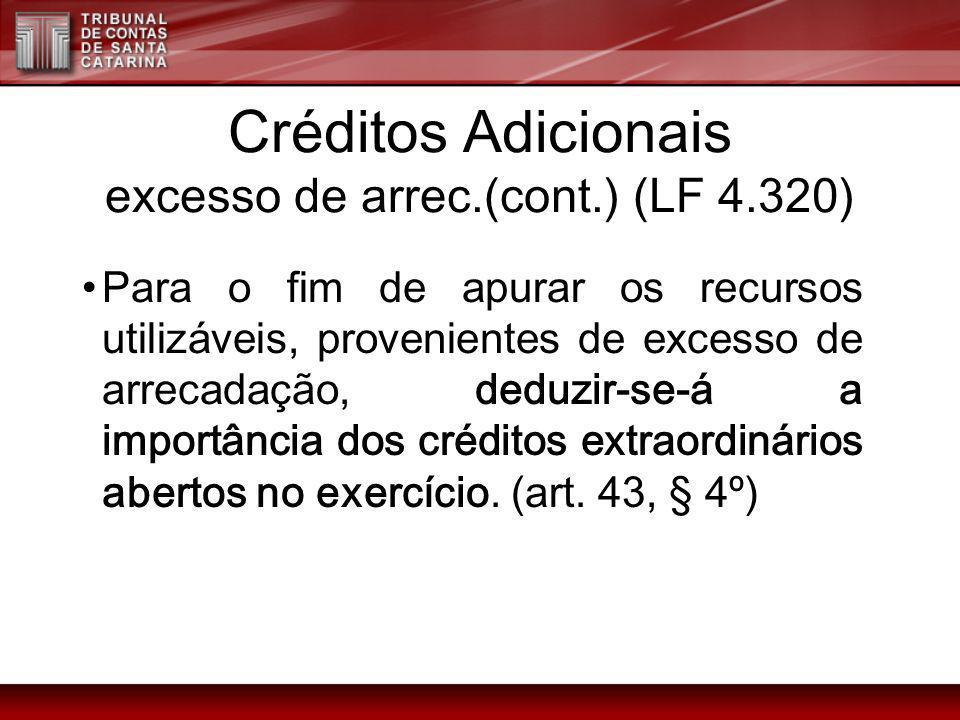 Créditos Adicionais excesso de arrec.(cont.) (LF 4.320)