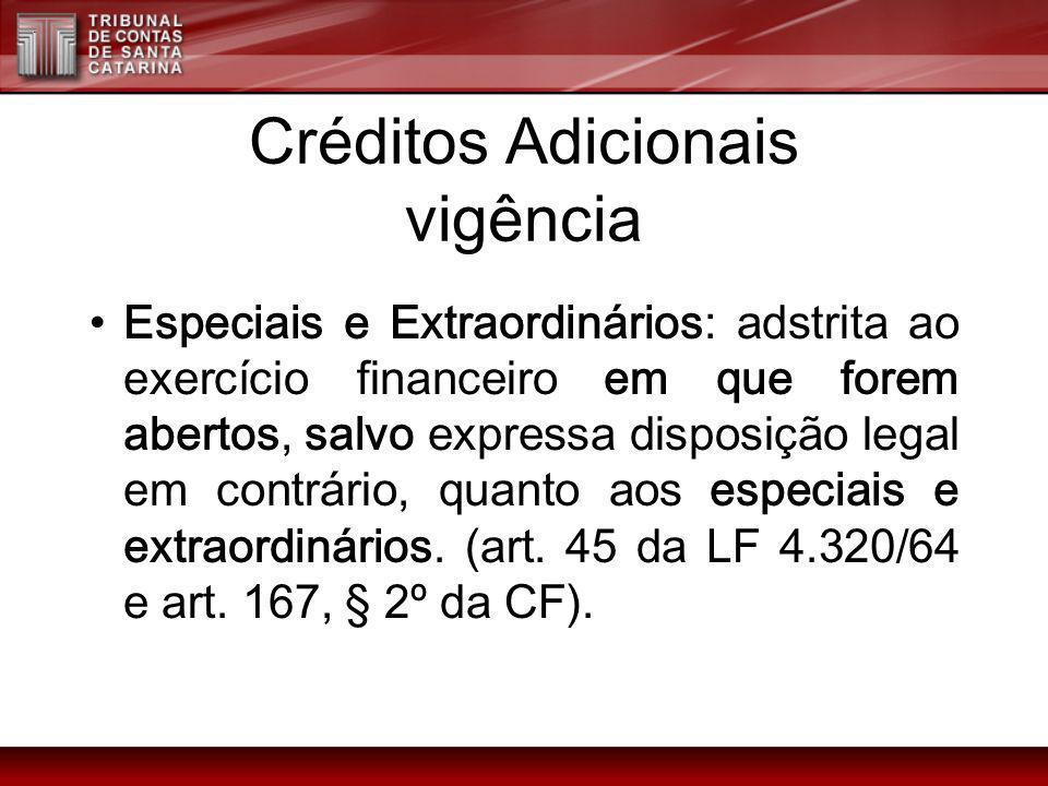Créditos Adicionais vigência