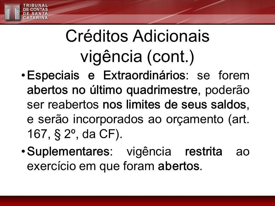 Créditos Adicionais vigência (cont.)
