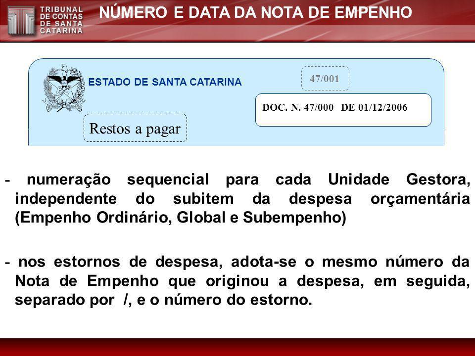 NÚMERO E DATA DA NOTA DE EMPENHO