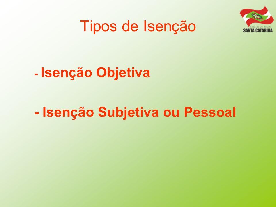 Tipos de Isenção - Isenção Objetiva - Isenção Subjetiva ou Pessoal